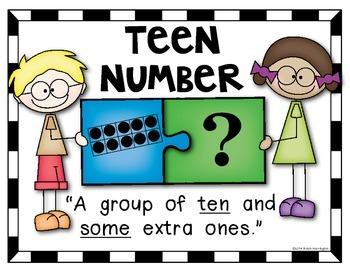 """Teen Numbers Poster Pack {10-19} """"Puzzle Kids"""" Kindergarten Math"""