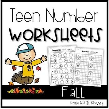 Teen Numbers / Teen Number Practice / Math Worksheets / Fall Activities/