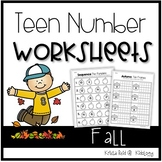 Teen Numbers / Teen Number Practice / Math Worksheets / Fall Activities/