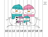 Teen Numbers Snowman Family Math Puzzle
