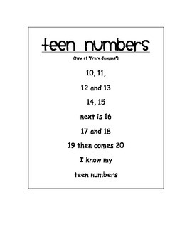Teen Numbers Song