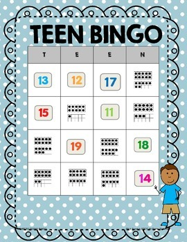 Teen Numbers Sort, Match, and Bingo Activities