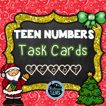Teen Numbers Task Cards Christmas Theme - Number Sense