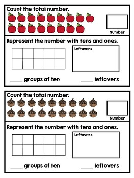 Teen Numbers Task Cards -- Fall Theme!