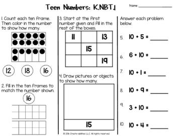 Teen Numbers Test for Kindergarten FREE