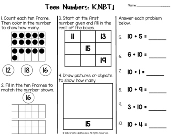 Teen Numbers Test for Kindergarten FREE by Create ...