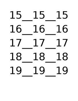 Teen Numbers Tracing Sheet