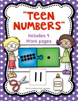 "Teen Numbers Workpages ""Puzzle Kids"" for Kindergarten and First Grade"