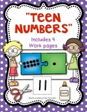 """Teen Numbers Workpages """"Puzzle Kids"""" for Kindergarten and First Grade"""