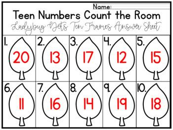 Teen Numbers Kindergarten Center or Write the Room Activity