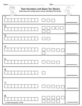 Teen Numbers with Base Ten Blocks
