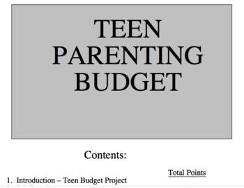Teen Parenting Budget