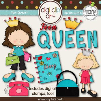 Teen Queen 1-  Digi Clip Art/Digital Stamps - CU Clip Art
