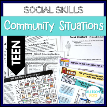 TEEN Community Themed Social Skills Activities Speech Therapy