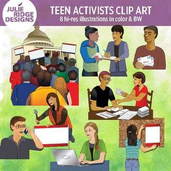 Teen Student Activists Clip Art Illustrations