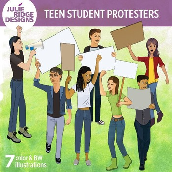 Teen Student Protesters Clip Art Illustrations