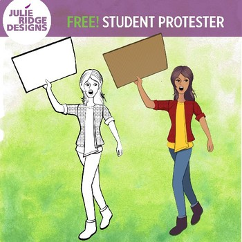 Free! Teen Student Protester Clip Art Illustration