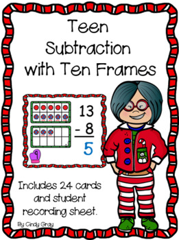 Teen Subtraction with Ten Frames ~ Holiday Edition