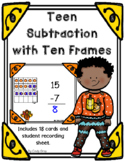Teen Subtraction with Ten Frames ~ Thanksgiving Themed