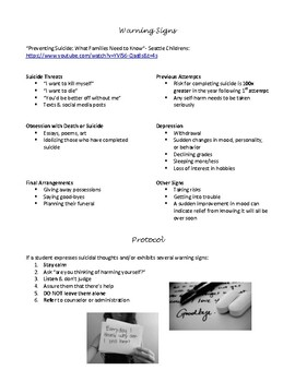 Teen Suicide Prevention Handout for Staff