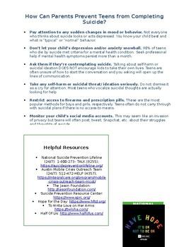 Teen Suicide Prevention Parent Newsletter