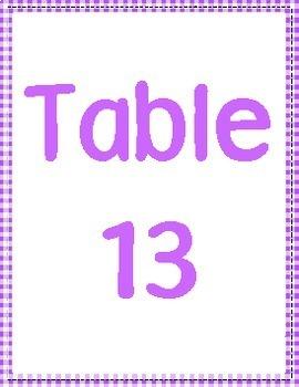 Teen Table Numbers
