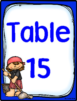 Teen Table Numbers ~ Pirate Themed