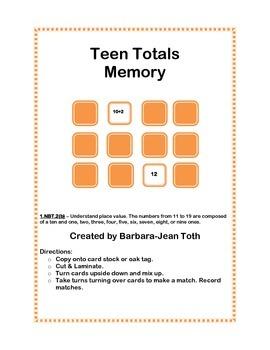 Teen Totals Memory Game