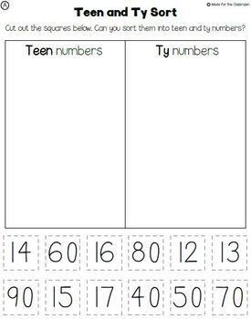 Teen Ty Confusion Worksheets