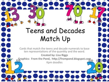 Teen and Decade Numeral Match Up, K, 1st and 2nd grade math