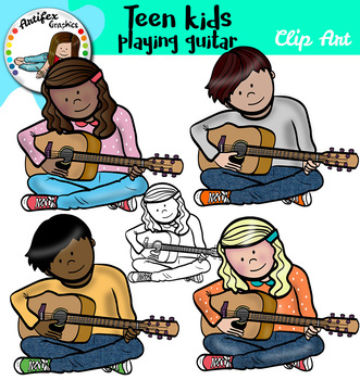 Teen kids playing guitar clip art
