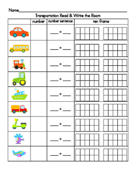 Teen number Write the Room - Transportation Theme
