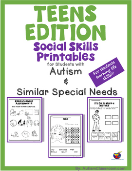 Teen's Edition Social Skills Activities and Printables for Students with Autism