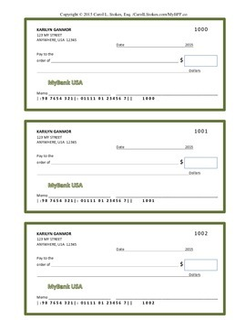 Teen to Adult Basic Finance Check and Checkbook Register Template