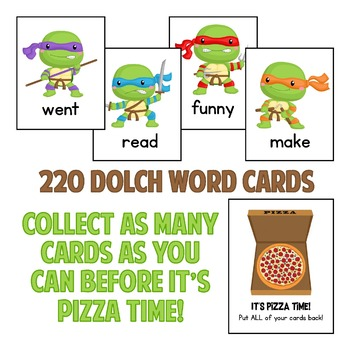 Teenage Mutant Ninja Turtle Dolch Sight Words Game!  With all 220 Dolch Words