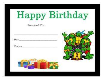 Teenage Mutant Ninja Turtles Birthday Certificates (Includes 6 Certificates)