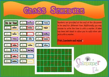 Ninja Turtles like Schedule Timetable Back to School Decor