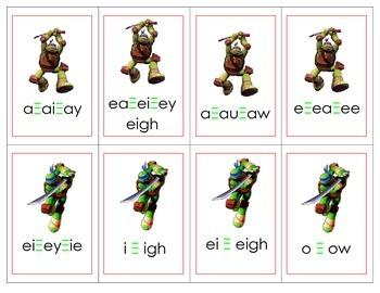 Teenage Ninja Mutant Turtles Vowel Digraphs Card Game