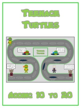 Teenage Turtles Math Folder Game - Common Core - Adding 10 to 20