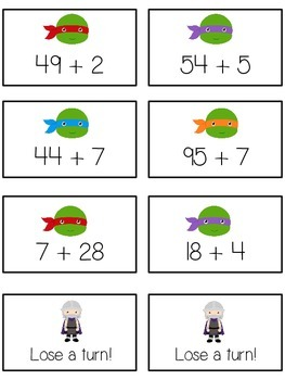 Teenage Turtles Math Folder Game - Common Core - Adding 2 and 1 Digit Numbers