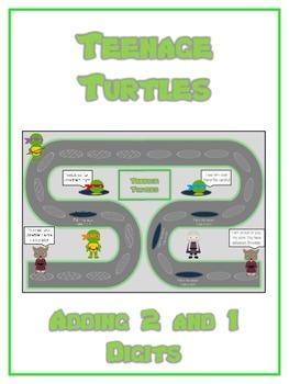 Teenage Turtles Math Folder Game - Common Core - Adding 2