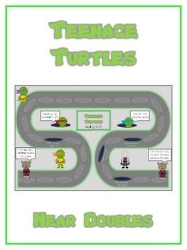 Teenage Turtles Math Folder Game - Common Core - Adding Near Doubles