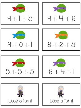 Teenage Turtles Math Folder Game - Common Core - Adding Three 3 Numbers