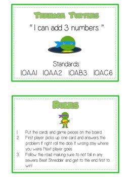 Teenage Turtles Math Folder Game - Common Core - Adding Three 3 Numbers