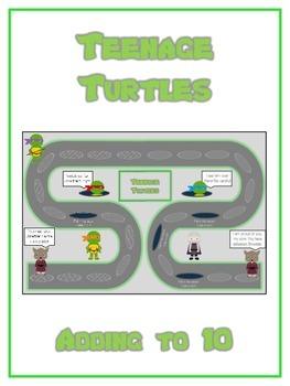 Teenage Turtles Math Folder Game - Common Core - Adding to 10