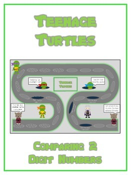 Teenage Turtles Math Folder Game - Common Core - Comparing 2 Digit Numbers