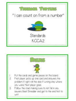Teenage Turtles Math Folder Game - Common Core - Counting On From Number