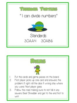 Teenage Turtles Math Folder Game - Common Core - Division - Dividing Numbers