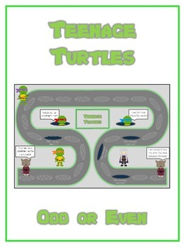 Teenage Turtles Math Folder Game - Common Core - Even and Odd Numbers