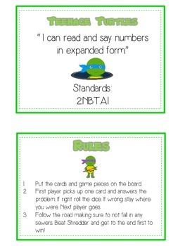 Teenage Turtles Math Folder Game - Common Core - Expanded Form